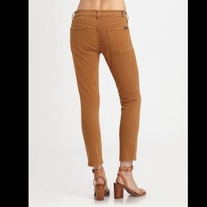 7 for all mankind camel skinny ankle jeans 27